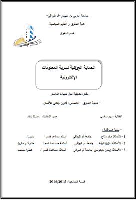 مذكرة ماستر: الحماية الجزائية لسرية المعلومات الإلكترونية PDF