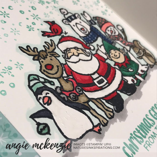 By Angie McKenzie for Ink and Inspiration Blog Hop; Click READ or VISIT to go to my blog for details! Featuring the Christmas Crowd stamp set, Stitched Stars Dies and Mini Curvy Keepsakes Box Dies from the 2019 Holiday Catalog; #christmascrowdstampset #stitchedstarsdies #happyholidays #bloghops #inkandinspirationbloghop #christmascards #coloringwithblendsmarkers #cardtechniques