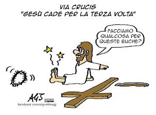 venerdì santo, via crucis, buche, umorismo, satira, vignetta