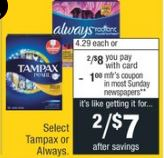 save on tampax at cvs
