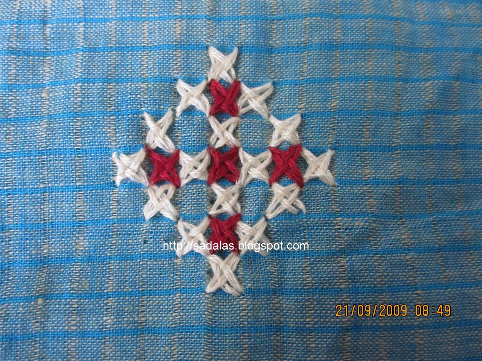 Sadala's embroidery: stem stitch: salwar set.
