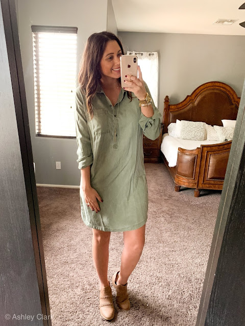 old navy green button up dress with brown booties