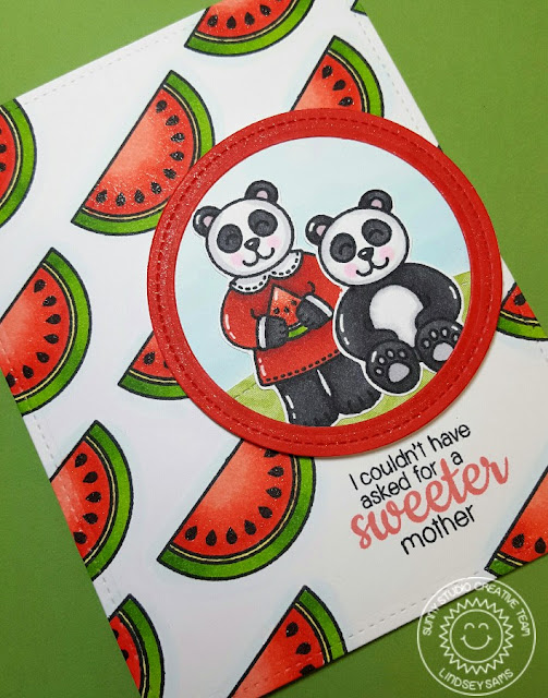 Sunny Studio Stamps: Mother's Day Card by Lindsey Bailey (using Watermelon from Fresh & Fruity and Pandas from Comfy Creatures)