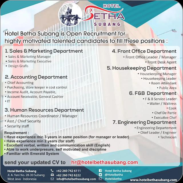 Info Loker Hotel Betha Subang 2019