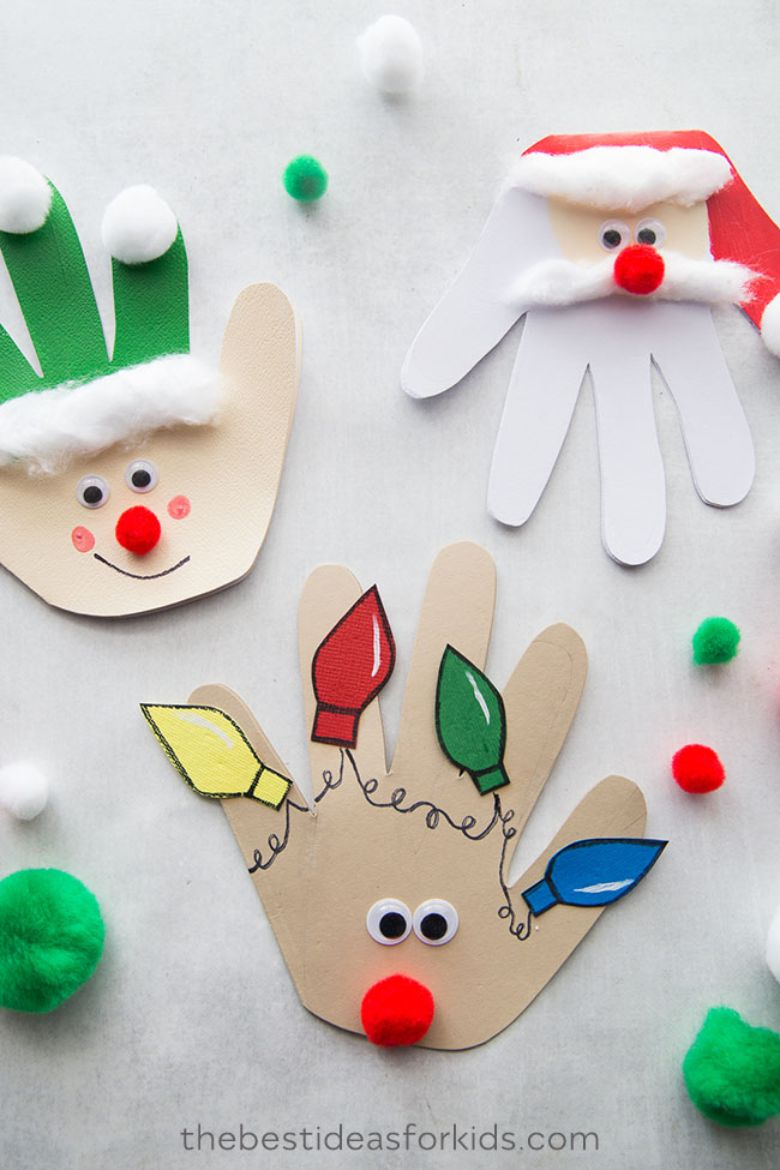 Christmas handprint crafts for toddlers and preschoolers