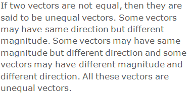 If two vectors are not equal, then they are said to be unequal vectors. Some vectors may have same direction but different magnitude. Some vectors may have same magnitude but different direction and some vectors may have different magnitude and different direction. All these vectors are unequal vectors.