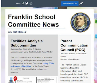 Franklin (MA) School Committee: July 2020 Newsletter