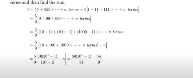 Find the sum to n terms of the series 5 + 55 + 555 …