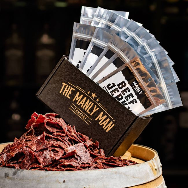 Stocking stuffer ideas for men - a mega pack of beef jerky from manly man co
