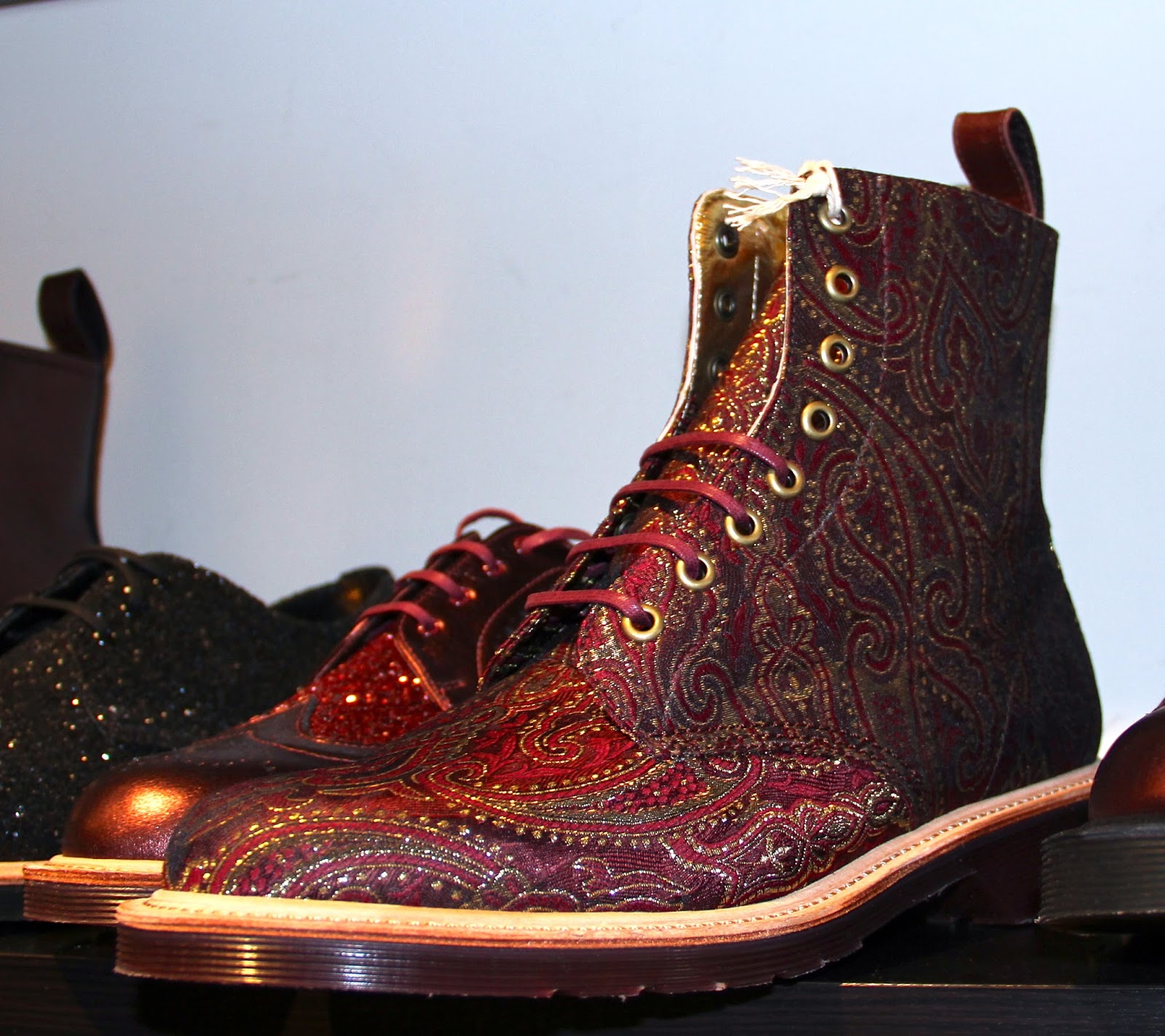 3986ffb5b3 Crafted-women s Becket 8-Eye Boot cherry red metallic paisley silk boot.  Paisley silk fabric sourced from traditional UK mill- Stephen Walters    Sons.