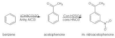 Benzene to m Nitroacetophenone