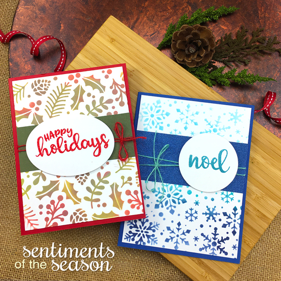 Stenciled Christmas Cards by Jennifer Jackson | Snowfall and Holiday Foliage Stencils and Sentiments of the Season Stamp Set by Newton's Nook Designs #newtonsnook