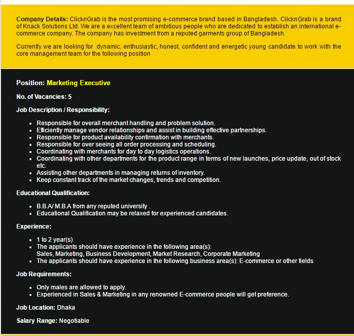 ClicknGrab Marketing Executive Job Circular – Marketing Executive Job Description