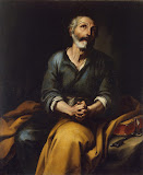 Repentance of St Peter by Bartolome Esteban Murillo - Christianity Paintings from Hermitage Museum