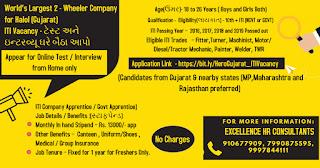 Hero Wheeler Company Gujarat Plant ITI Job Vacancy Selection By Online Test/Interview from Home (आईटीआई जॉब्स  हीरो कंपनी सेलेक्शन घर बैठे ऑनलाइन टेस्ट व् इंटरव्यू द्वारा )