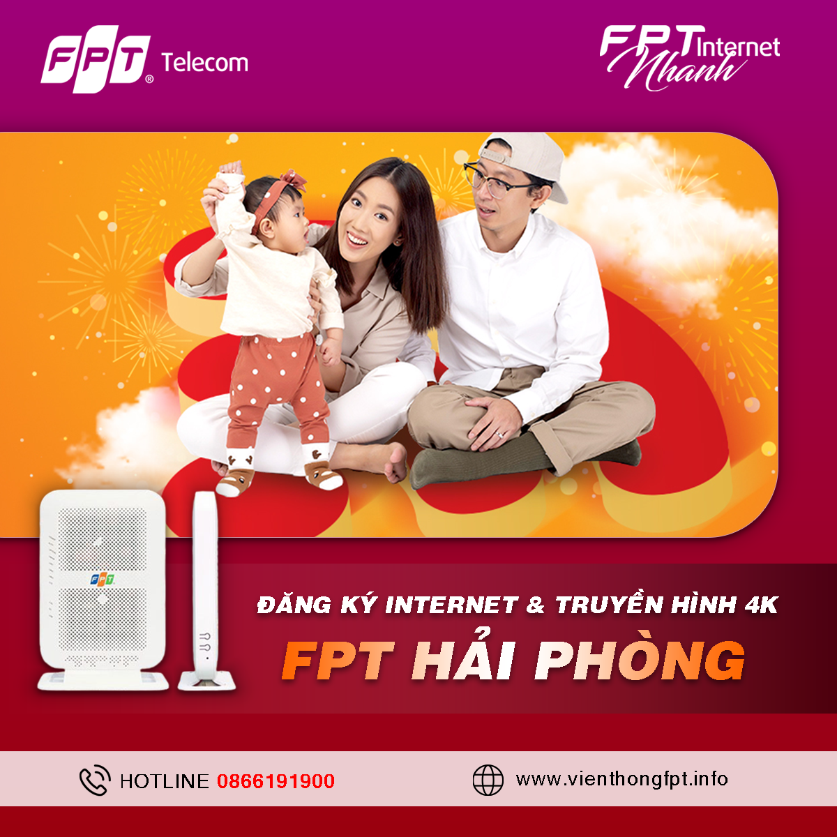 Đăng ký Internet FPT Hải Phòng - Miễn phí lắp đặt - Tặng 2 tháng cước
