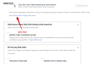 Ajukan ulang monetisasi youtube 20 Jun 2019