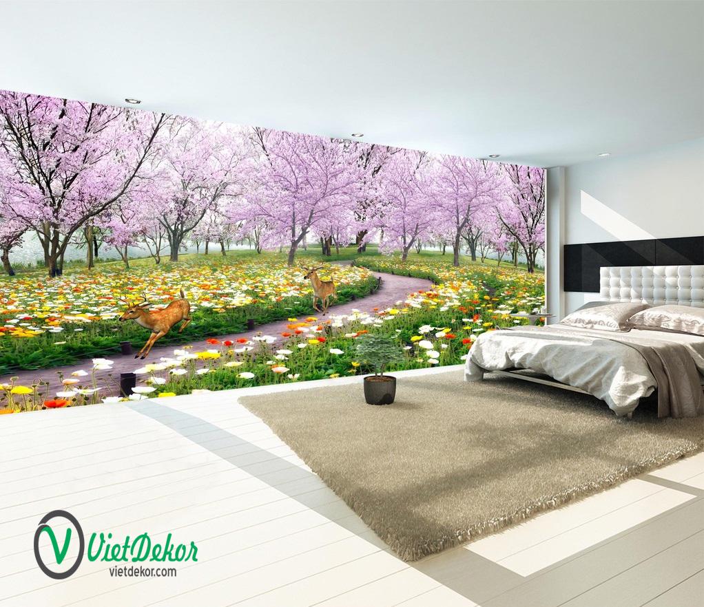 Tranh dán tường 3d phong cảnh hoa anh đào con hươu