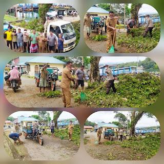 Pemdes Penuba Bersama Masyarakat Lakukan Goro di depan Pelabuhan Desa penuba