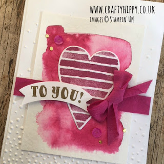 Create this gorgeous heart card by teaming Aqua Painters with Berry Burst ink from Stampin' Up!