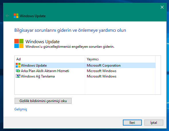 windows 10 güncelleme yapmıyor