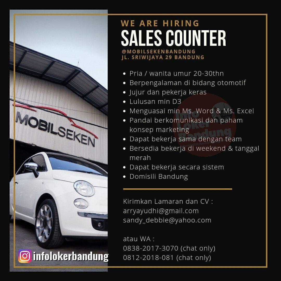 Lowongan Kerja Sales Counter Mobil Seken Bandung Juli 2019