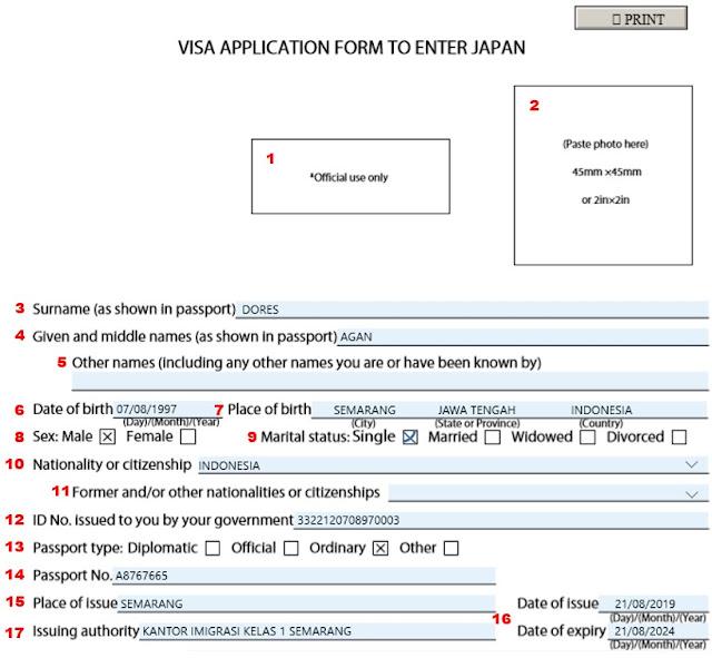 formulir visa jepang