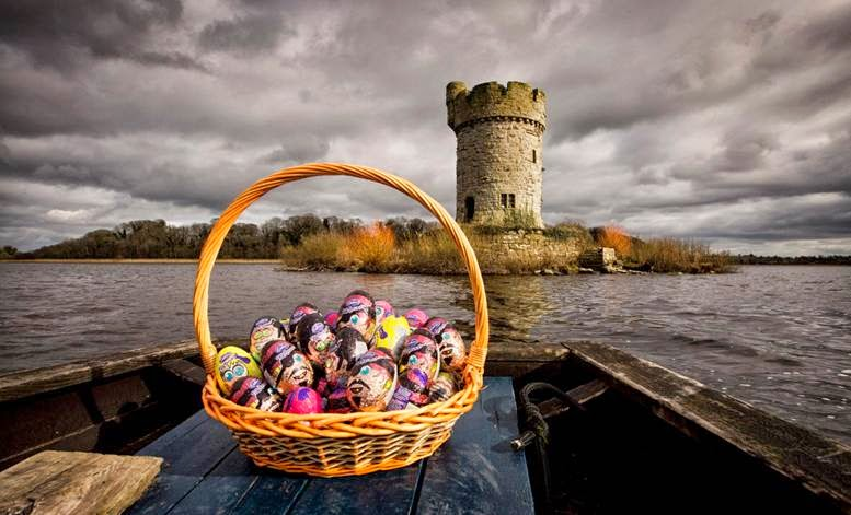 Easter Egg basket on boat