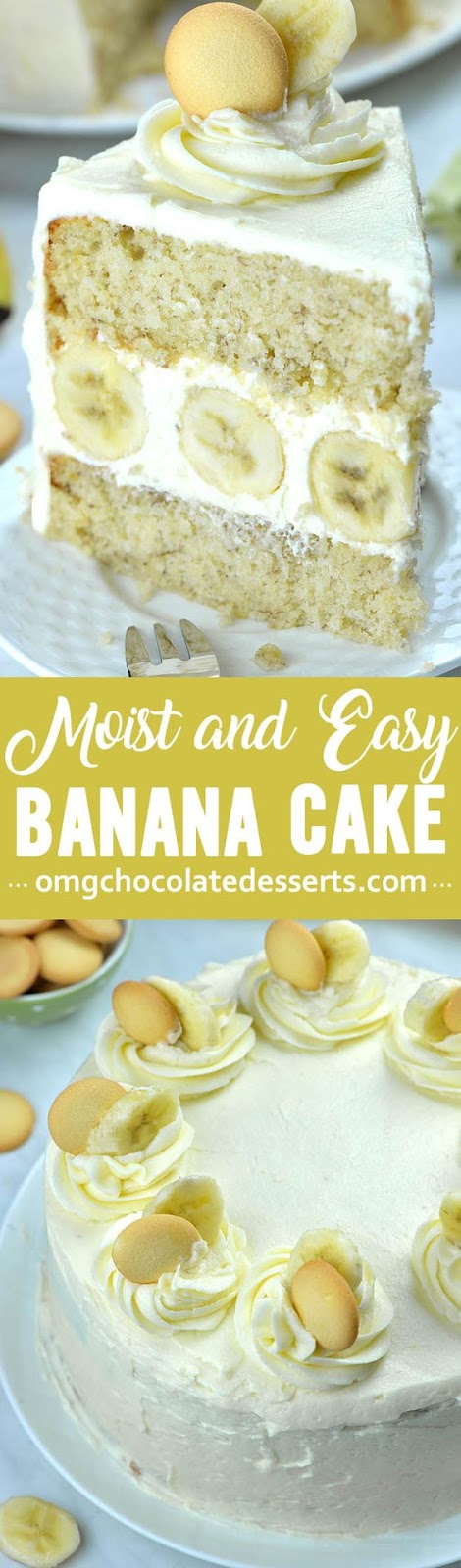 You will love this incredibly moist and easy Banana Cake with rich and fluffy Cream Cheese Frosting! Layered banana cake with addition of whipped cream