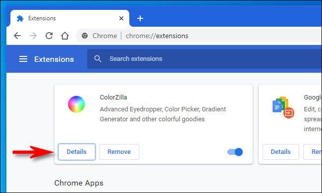 """في صفحة ملحقات Chrome ، انقر على """"التفاصيل""""."""