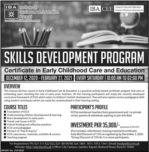 IBA Karachi Skills Development Programs Admissions 2020 for Early Childhood Care and Education