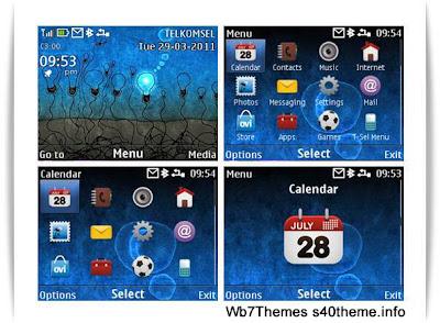 Blue neon theme Nokia C3-00 X2-01 Asha 200 Asha 302 Asha 201