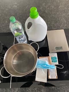 Ustensile et ingrédients pour réaliser lessive maison avec la box Pousse pousse de septembre 2020