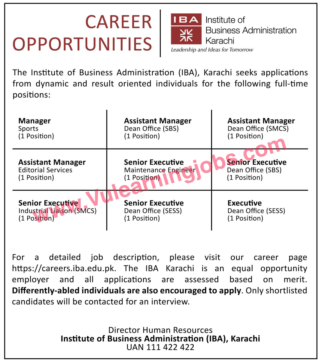 Institute Of Business Administration Jobs July 2021 Manager, Assistant Manager, Executive, Senior Executive Latest