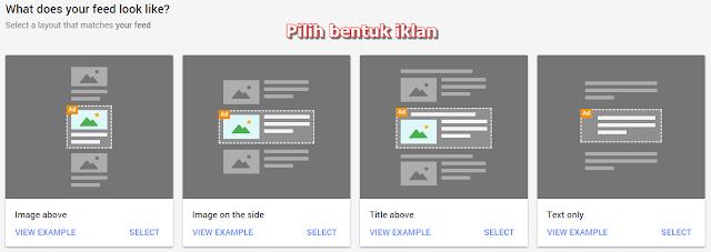 Cara pasang In feed ads sangat mudah dan simple