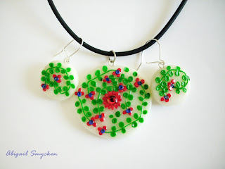 polymer clay pendant, green, red, flowers, white