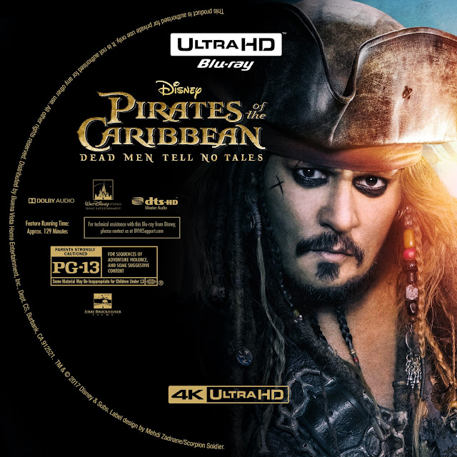 Pirates Of The Caribbean Dead Men Tell No Tales 4K Bluray Label