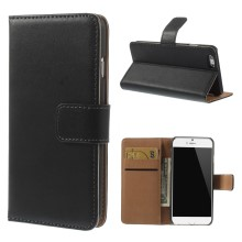 Genuine Split Leather Wallet Stand Case Shell for iPhone 6s / 6 4.7 inch - Black