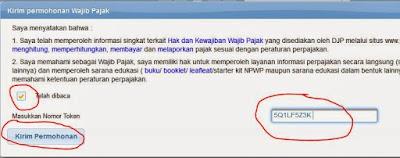 Memasukkan token daftar pajak online