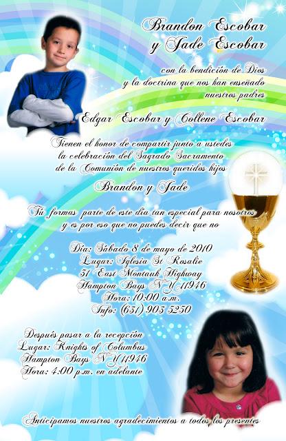 Tarjeta de Invitación Novedosa Primera Comunión y Bautizo