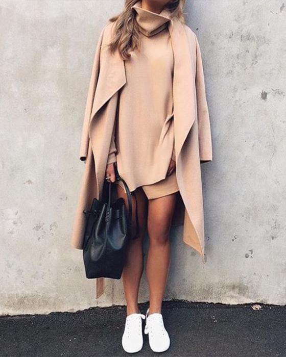 outfit minimalista beige