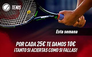 sportium Promo Tenis: Por cada 25€ ¡Te damos 10€! hasta 6-10-2019