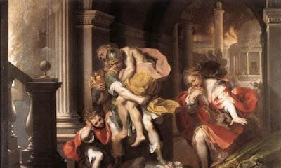 """""""Enea Flees Burning Troy"""", 1598, di Federico Barocci. Galleria Borghese, Roma. (Dominio pubblico)"""