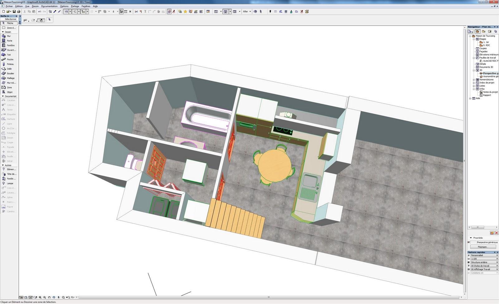 Rénovation de ma maison: Modèle 3D intérieur avec l\'escalier