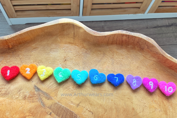 rainbow needle felted hearts with numbers