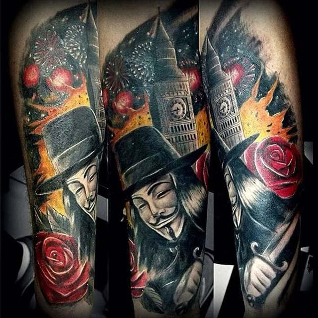 Tatuajes V de Vendetta un Símbolo Revolucionario