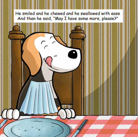 What did Waffle eat in Waffle Likes Falafel by Carrie Steinweg? Illustration by Nicolas Peruzzo.