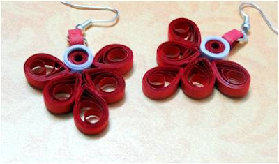 Red color Quilling Paper Earring Designs for Valentines Day Special 2016