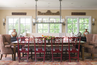 Fantastic Red Chairs and Fluffy Sofas around Wooden Table in the Traditional Dining Room Decorating Ideas