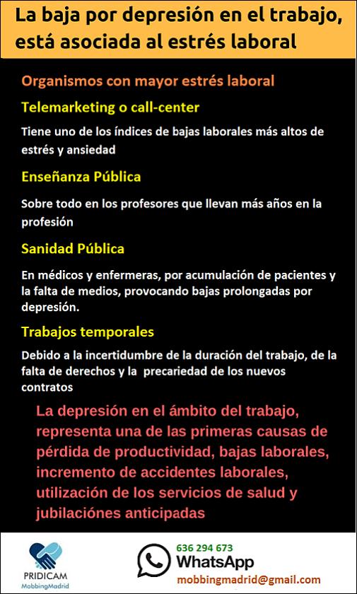 MobbingMadrid La baja por depresión en el trabajo, está asociada al #estréslaboral